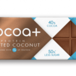 Cocoa+ 40% Milk Protein Chocolate Toasted Coconut 40g